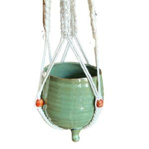 Beaded Macrame hanging plant holder, retro boho